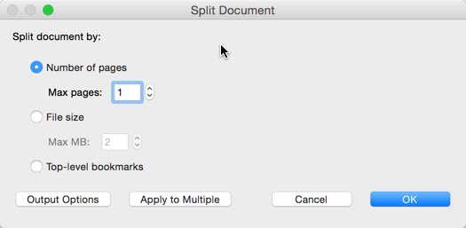 Screenshot of 'Split Document' Dialog