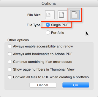 Screenshot of 'Combine Files>Options' Dialog