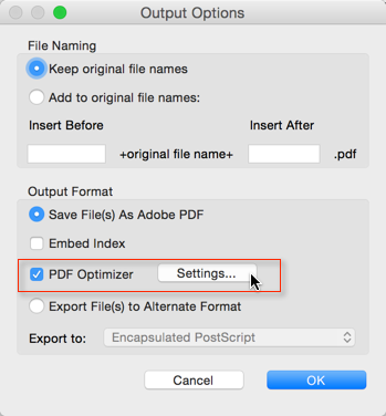 Screenshot of 'Output Options' Dialog