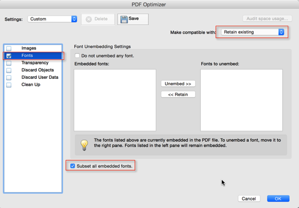Screenshot of 'PDF Optimizer' Dialog