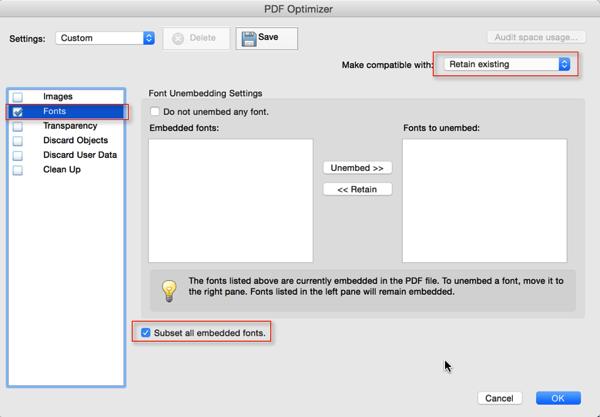 Screenshot of 'PDF Optimizer' Dialog