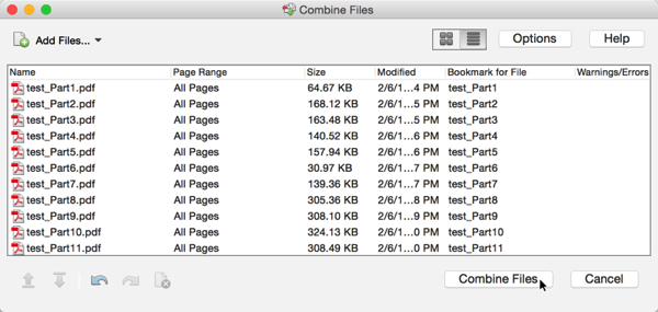 Screenshot of 'Combine Files' Dialog