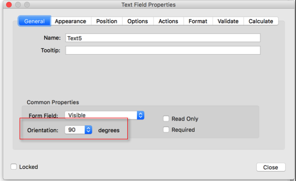 Screen shot of a field properties dialog with the field rotation set to 90 degrees