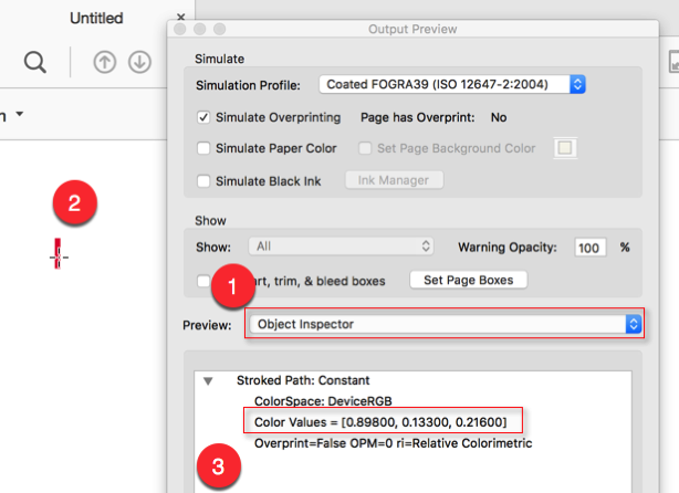 Screenshot of the 'Output Preview' tool, with the 'Object Inspector' preview type selected. The lower portion of the dialog shows the description of the selected red line segment.