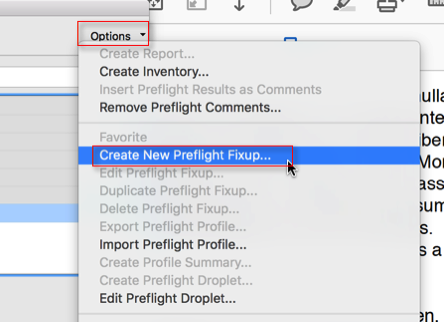 Screenshot showing the expanded 'Options' menu with the 'Create New Preflight Fixup' item selected