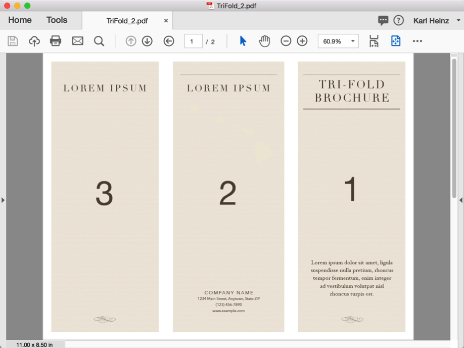 Screenshot of a tri-fold document in Adobe Acrobat - pges are numbered 1, 2 and 3 from the right.